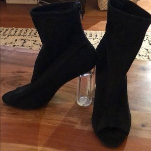 Peep Toe Black Heeled Booties